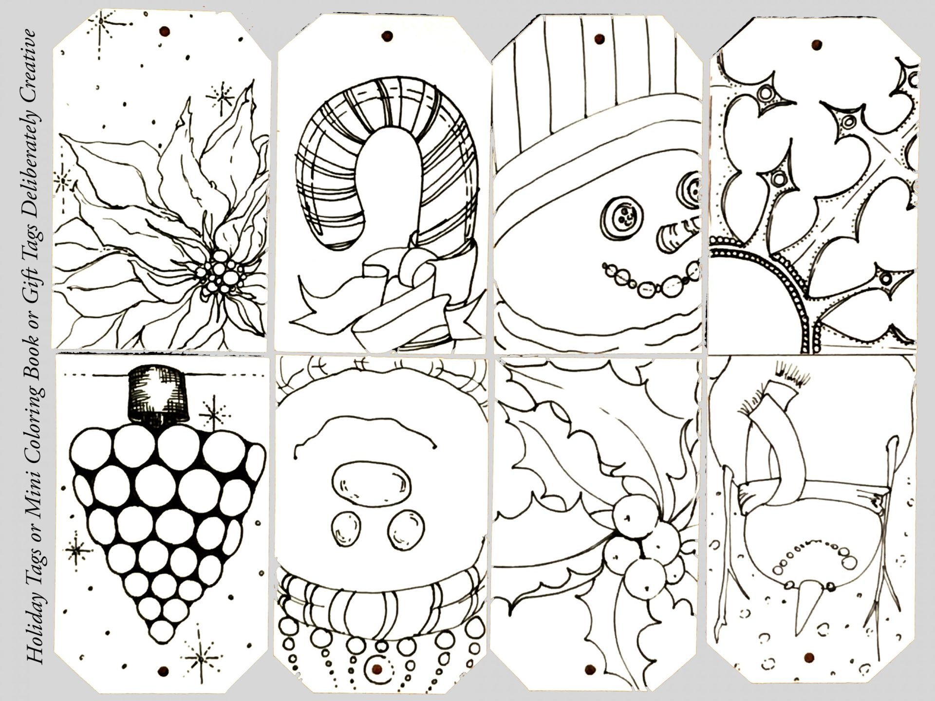 printable tags coloring sheet line art holiday designs
