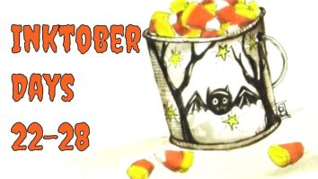 pail of candy corn with a bat on the pail