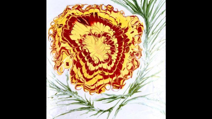 fluid acrylic painting of a marigold flower