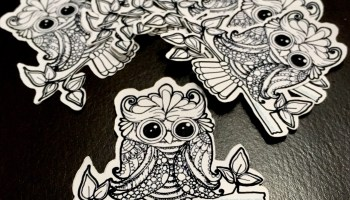 Doodle Owl Stickers Black and White