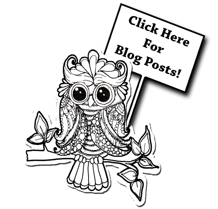 Owl holding sign to blog posts