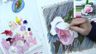 pink rose peeling paint