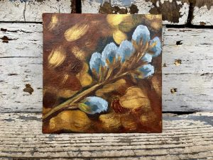 painting of branch of fuzzy flowers