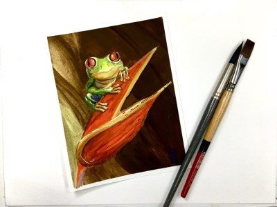 Painting of Frog and Flower