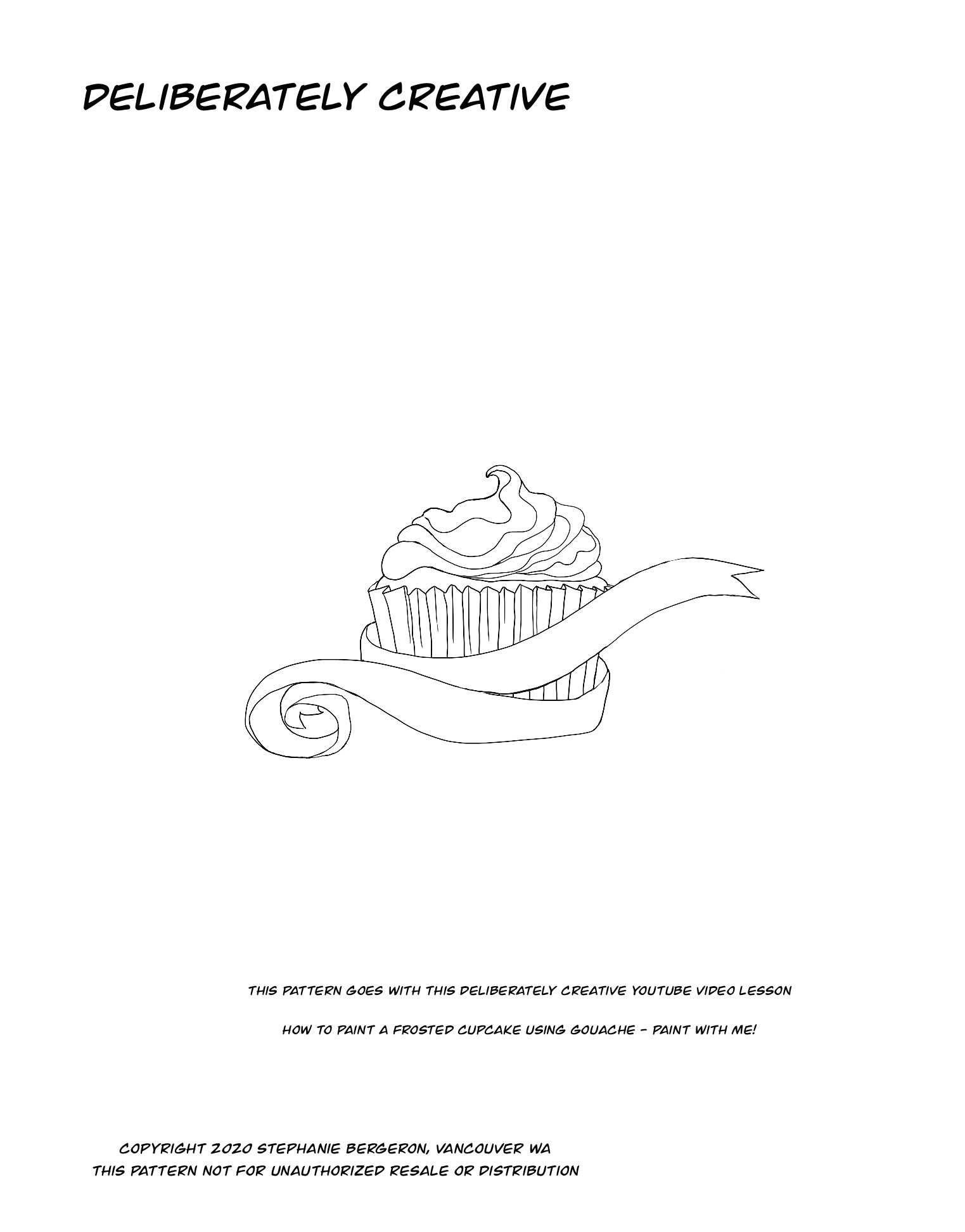 line art frosted cupcake
