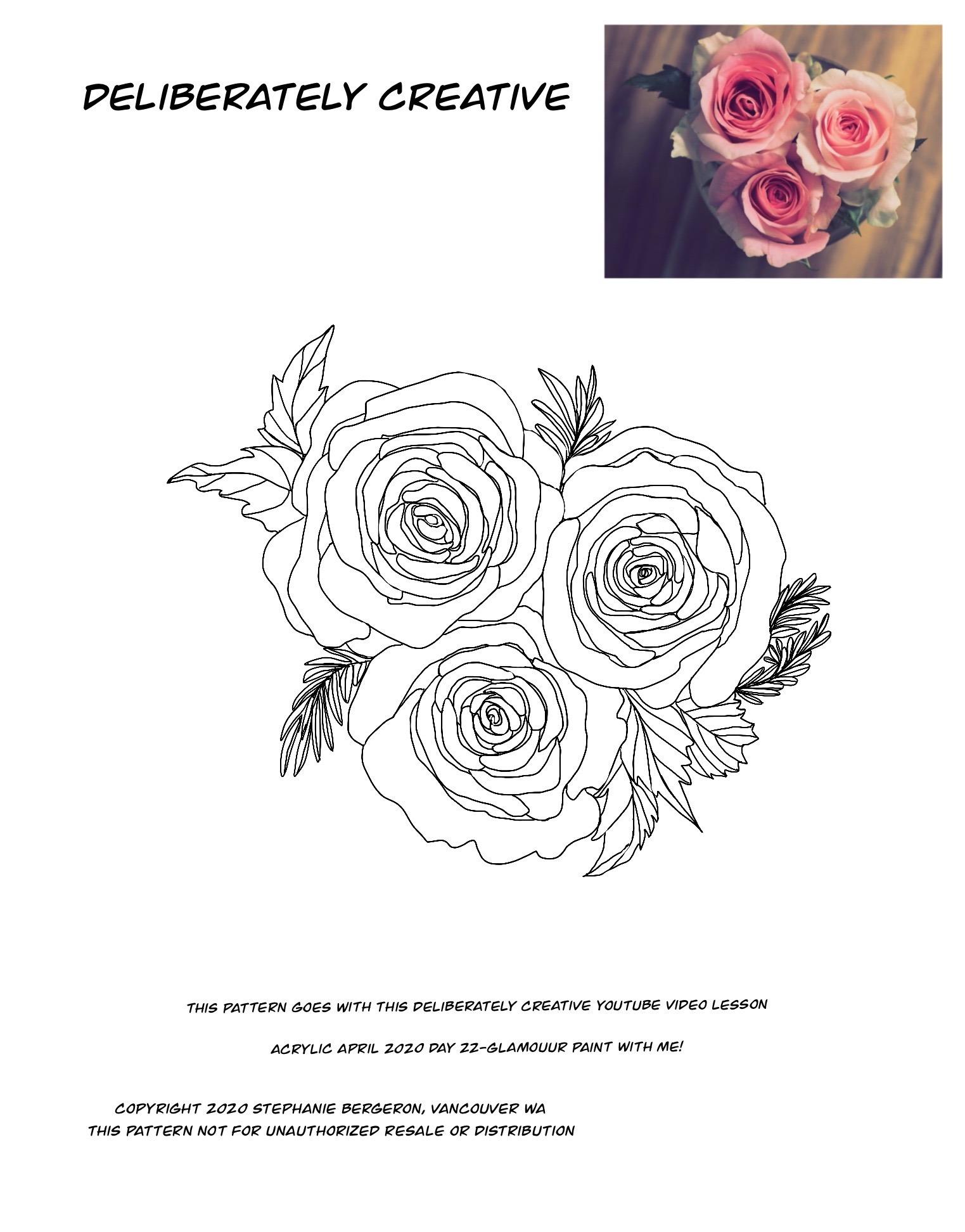 line art roses