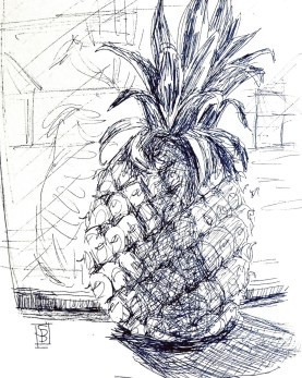 Line art pineapple