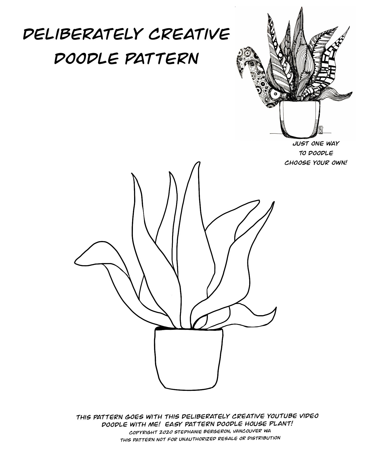 Line art House Plant in simple pot