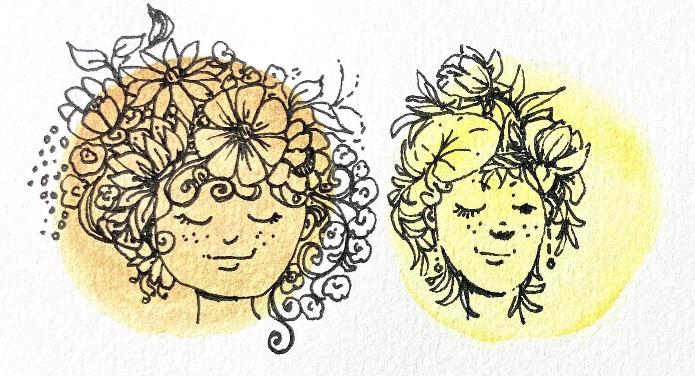 Flower hair doodle girls