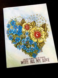 Watercolor Valentine flower heart