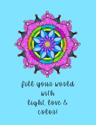 Colored version of the black and white mandala coloring page