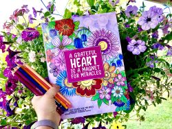 Hand holding colorful coloring book and colored pencils