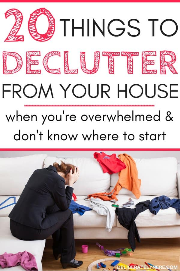 Things to declutter from your house when you're overwhelmed and don't know where to start. Declutter your house and create a simple, organized, uncluttered life. How to kick clutter once and for all. For the busy mom who doesn't know where to start decluttering. Eliminate clutter stress and simplify you life. Declutter your life. Declutter your home. I love the concept of decluttering but I never knew where to start!! This post guides you through the steps to take to eliminate waste out of your life and only keep the things that really matter! WOW! I always thought decluttering was complicated - it turns out it's SO easy!