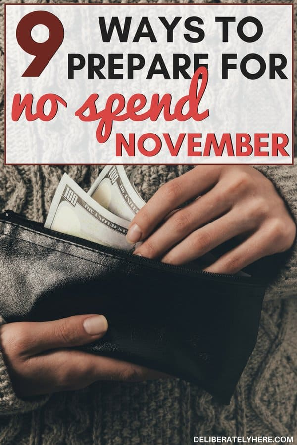 9 ways to save money with no spend November. Save money this year with a spending freeze to save money for the holidays. Save money fast with these fool-proof money saving ideas. Money saving tips and tricks to help you organize your finances and thrive on a budget. Stay on budget and save money on living expenses this month. Participate in this no spend challenge, no spend November challenge to save money fast today!