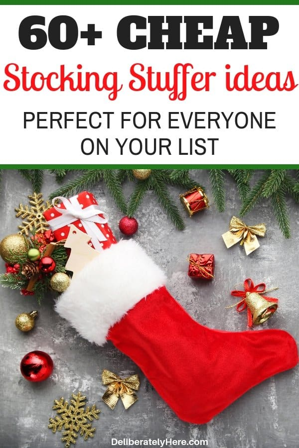 Over 60 cheap stocking stuffer ideas for everyone on your list. Frugal stocking stuffer ideas. Stocking stuffers perfect for minimalists, stocking stuffers for everyone. Christmas on a budget. Cheap Christmas gift ideas.