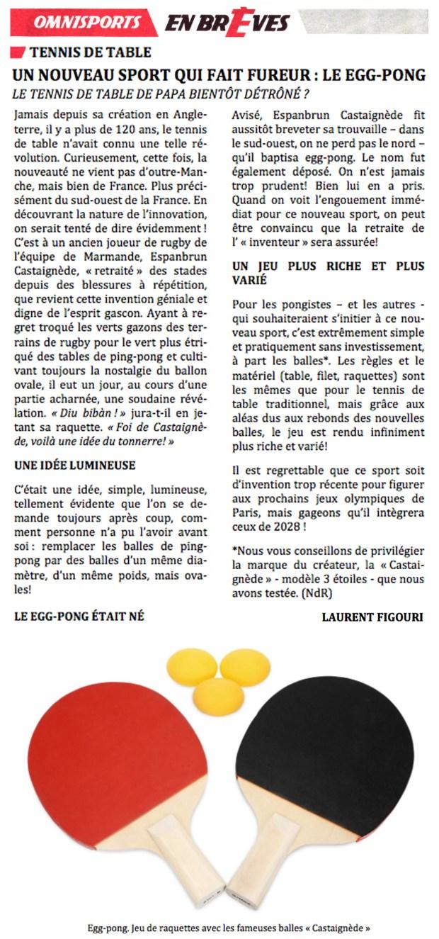 Egg Pong - Un nouveau sport qui fait fureur