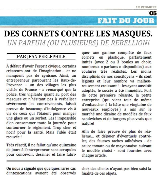Des cornets contre les masques © Philippe Mignon - Choses revues - délibéré