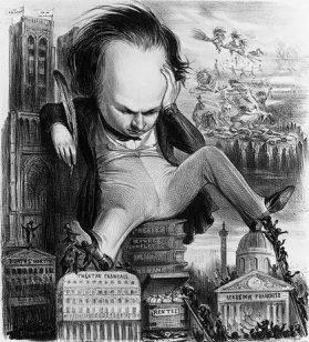 Caricature de Victor Hugo, représenté assis sur le Théâtre français et l'Académie française. Dessin de Benjamin paru dans le Panthéon charivarique en 1841.
