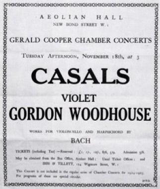 Fin 1924, Violet joue Bach avec Pau Casals. Mais Scarlatti, Byrd et Purcell sont tout autant sa tasse de thé.
