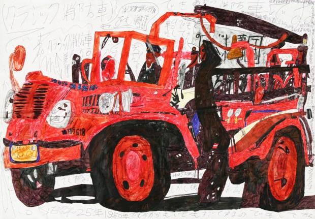 """""""Camion de papier"""" (2014), de Takumi Matsuhashi. Stylo bille, crayon, sur papier. Coll.de l'artiste"""
