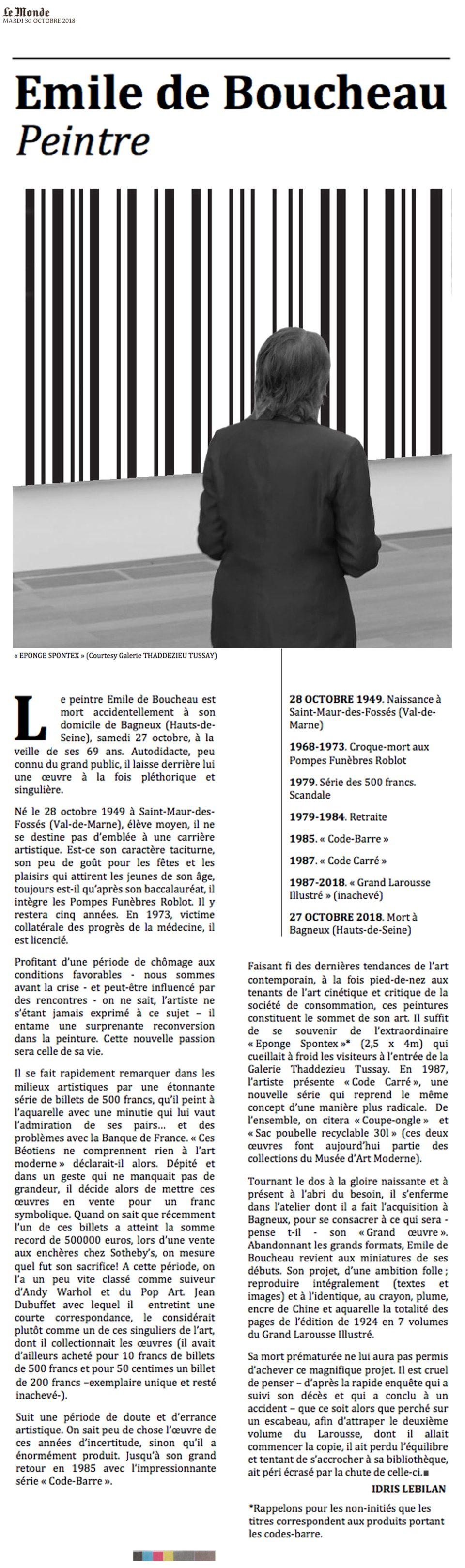 Disparition. Emile de Boucheau 1949-2018 - Choses revues par Philippe Mignon