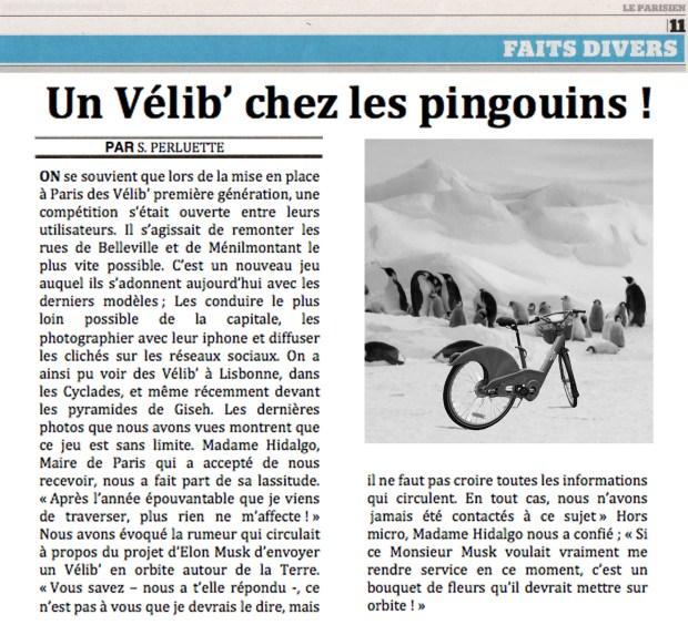 Un Vélib' chez les pingouins