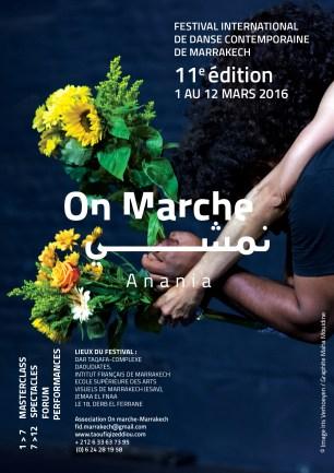 """Affiche du festival """"On Marche"""", Marrakech, mars2016"""