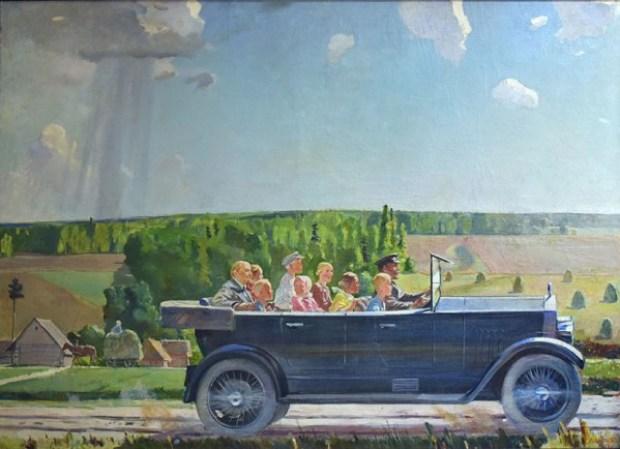 """""""Lénine en promenade avec des enfants"""", d'Alexandre Deïneka, musée des Forces armées, Moscou, actuellement au Grand Palais dans le cadre de l'exposition """"Rouge"""""""