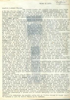 Lettre de Aída Cañas à Roque Dalton du 21 janvier 1975 (dernière lettre du dossier) ©Archives de la famille Dalton – Carta de Aída a Roque del 21 de enero de 1975 (última carta de la carpeta) ©Archivo Familia Dalton