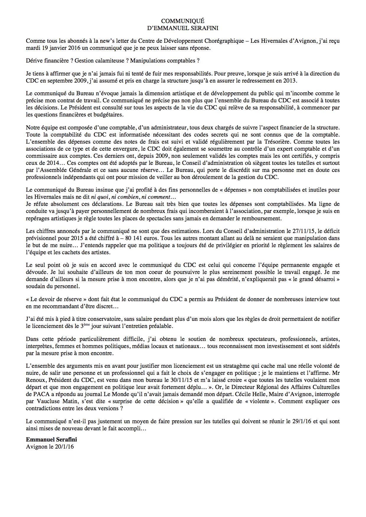 Emmanuel Serafini, communiqué du 20 janvier 2016
