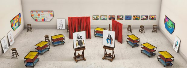 """David Hockney, """"Seven Trollies, Six and a Half Stools, Six Portraits, Eleven Paintings, and Two Curtains"""", 2018. Photographic drawing printed on paper, mounted on Dibond © David Hockney - assisted by Jonathan Wilkinson / Courtesy Galerie Lelong & Co. Photo: Richard Schmidt"""