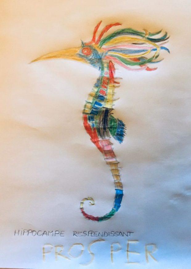L'hippocampe resplendissant colorié par Prosper, sur un dessin original de Philippe Mignon