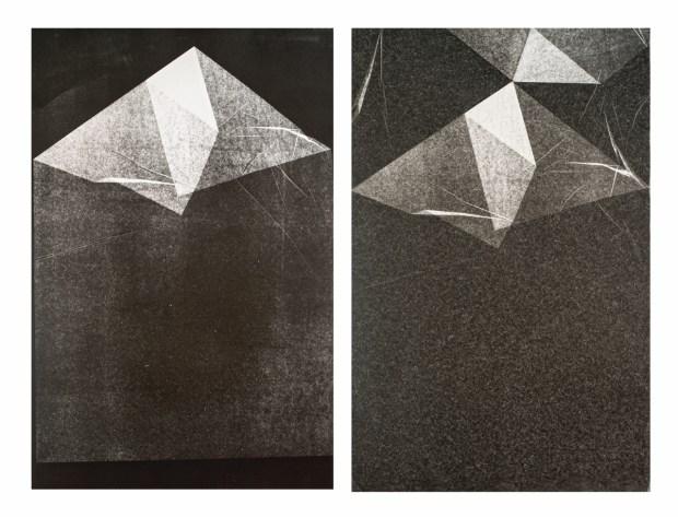 """Maria Laet, """"Dobra"""", 2015, monoprint on paper, diptych, 83 × 56,5 cm each © MdM Gallery. Un article de Nina Leger dans Délibéré"""