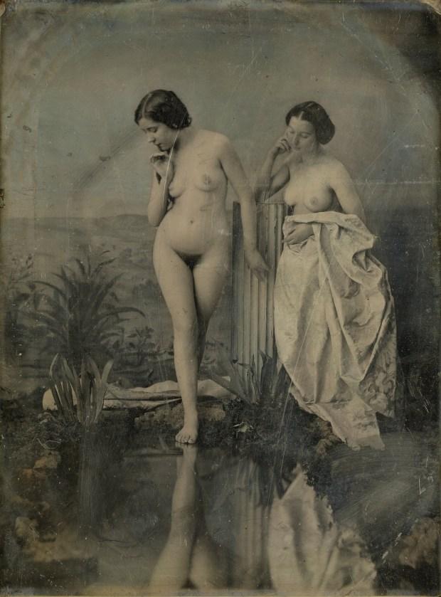 """""""Baigneuses au lac"""", daguerréotype, pose directe sur cuivre argenté, de Félix-Jacques Moulin"""