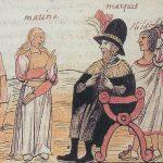 Primer encuentro de Malinalli con Hernán Cortés. Códice de Diego Durán. Siglo XVI. Biblioteca Nacional, Madrid.