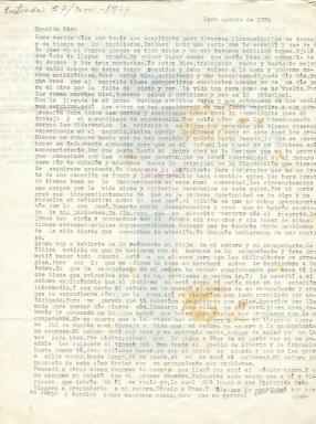 Première page de la lettre de Roque à Aida, datée du 10 août 1974 ©Archives de la famille Dalton - Primera página de la carta de Roque a Aída del 10 de agosto de 1974 ©Archivo Familia Dalton