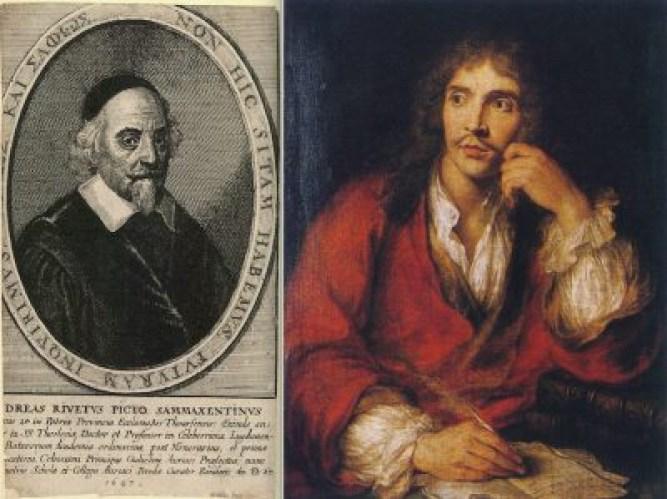 """Une """"querelle de la moralité du théâtre"""" agita le XVIIème français et toucha jusqu'à Molière (ici à droite, par Charles Antoine Coypel, vers 1730 © Comédie-Française). Si cette condamnation d'un tel """"langage des passions"""" anime violemment l'Eglise catholique, dévots contre comédiens, jansénistes contre jésuites, elle fut portée aussi par la Réforme, peu encline aux compromis (à travers par exemple un ministre et controversiste calviniste, le pasteur André Rivet, ci-dessus à gauche par Wenceslas Hollar, 1647 © University of Toronto)."""