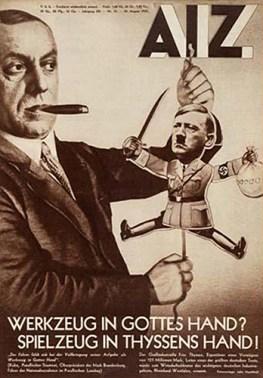 """Les Nyssen de la série """"Babylon Berlin"""", industriels finançant les groupes armés clandestins, copiés-collés des Thyssen bien réels, représentés, avant 1933, comme les manipulateurs du pantin Hitler (affiche d'époque)"""