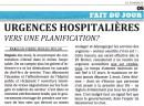 Urgences hospitalières, vers une planification?