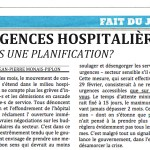 Urgences hospitalières: vers une planification?