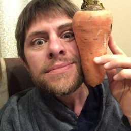 We had to buy a chubby carrot. And then compare it to our heads.