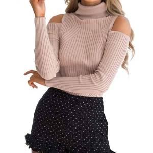 Pull col roulé tricoté coton rayé élégant