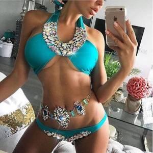 Bikini Sexy licou strass maillot de bain femmes