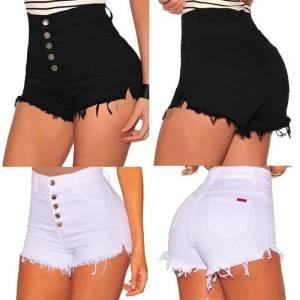 Shorts taille haute bouton jean