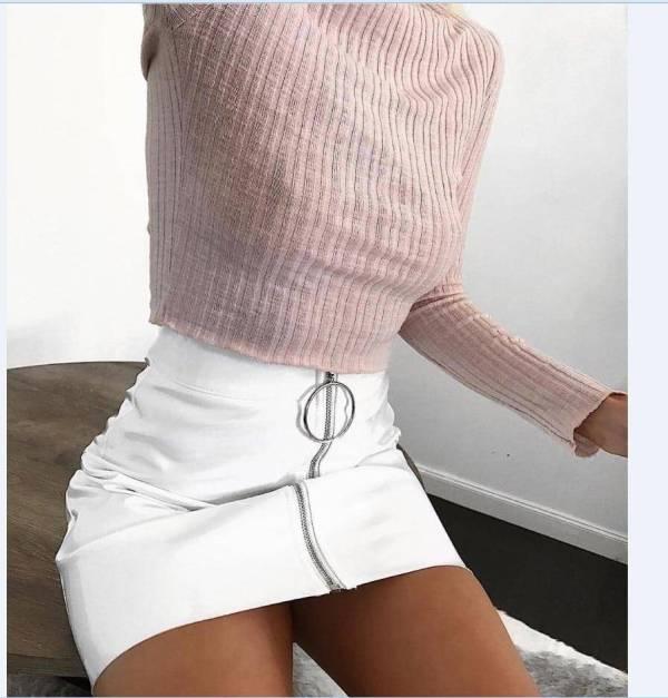 Jupe Sexy femmes mode taille haute fermeture éclair