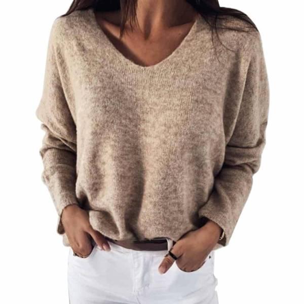 Pull Sexy évider col en v tricoté
