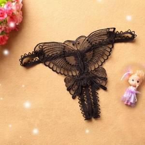 Sexy femmes dentelle évider papillon en forme de string ouvert entrejambe sous-vêtements Lingerie culotte