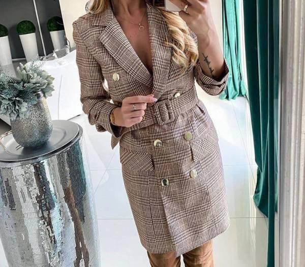 Robe Vintage double boutonnage ceinture robe à carreaux