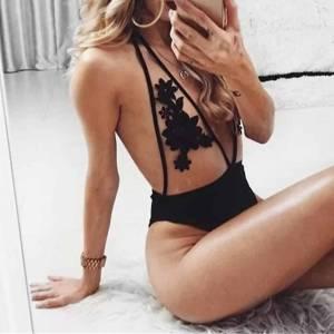 Bikini Sexy noir maille maillot de bain femmes