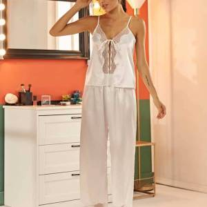 Pyjama ensemble de nuit en Satin dentelle pour femmes